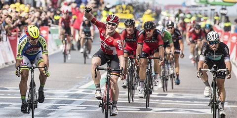 Andre Greipel wins the sprint finish of Stage 2 of the 2015 Tour de France
