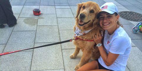 Dog breed, Shoe, Dog, Human leg, Carnivore, Sporting Group, Thigh, Baseball cap, Foot, Companion dog,