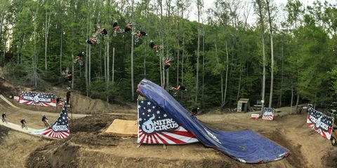 A sequence shot of Jed Mildon completing the first ever quadruple backflip