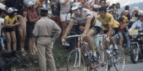 Eddy Merckx rides just ahead of Bernard Thévenet after losing the yellow jersey in the 1975 Tour de France