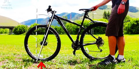 Minute Physics demonstrating the role the steering axis plays in a bicycle's ability to stay upright