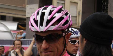 Luca Paolini wearing the Giro d'Italia leader's jersey.