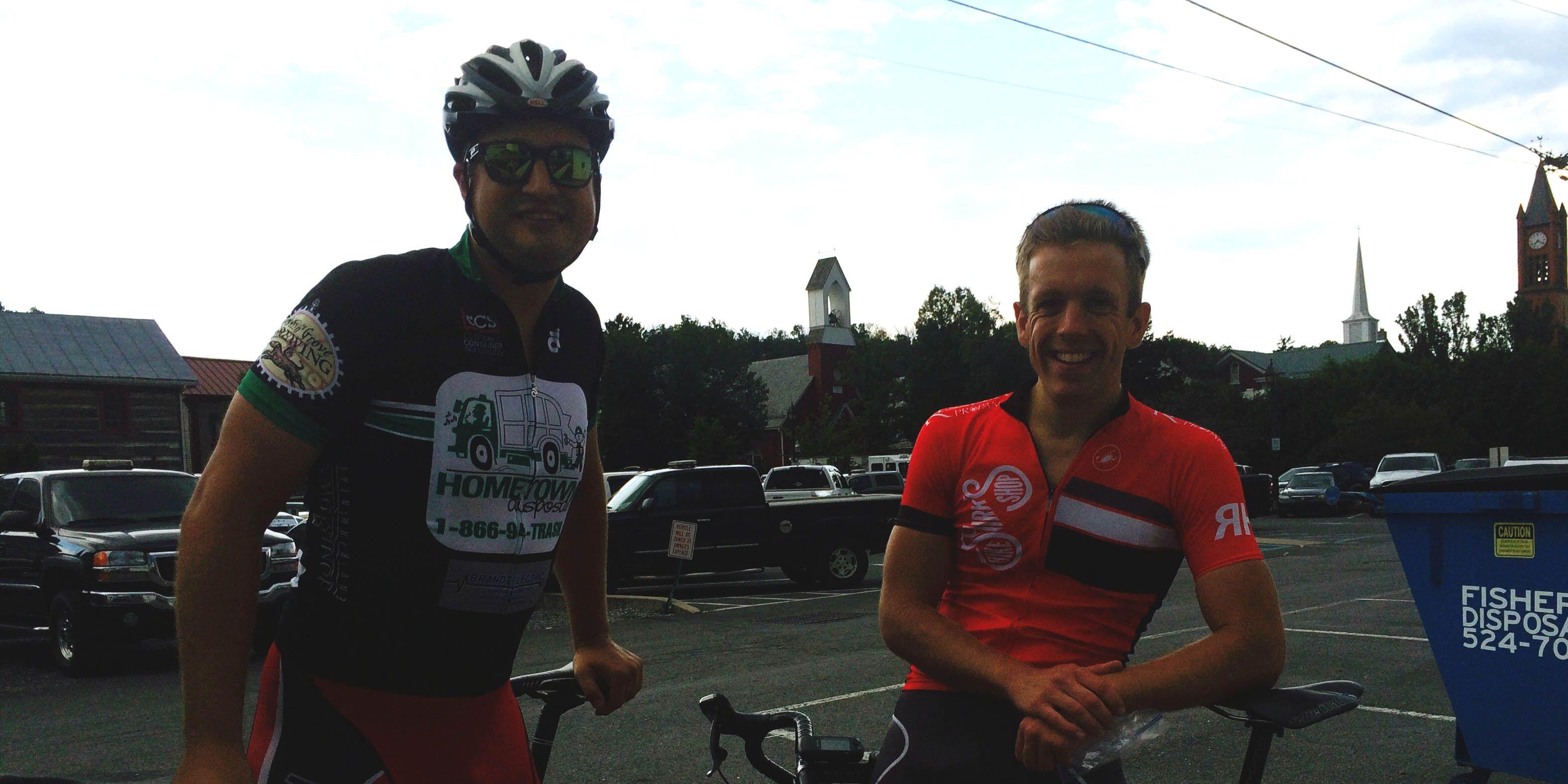 Ryan Smolko teaches his colleague to ride