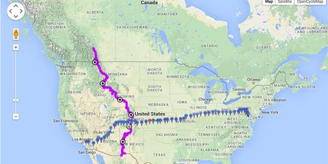 Map of RAAM and Tour Divide: the two ultraendurance cycling routes superimposed on a map of North America)