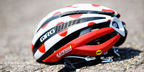Joaquim Rodriguez's Giro Synthe decorated with polka dots