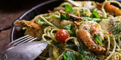 gluten free pesto shrimp pasta recipe