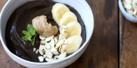dark chocolate with almond and coconute smoothie bowl
