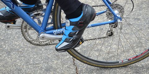 Blue Shimano road cycling shoe and Glory brand bike