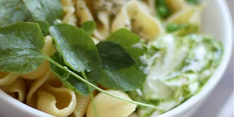 pasta with peas and watercress