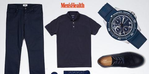 Blue, Product, Brown, Sleeve, Text, White, Denim, Font, Logo, Fashion,
