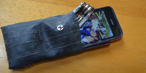 This case is 100% recycled, and it holds a phone and multitool perfectly.
