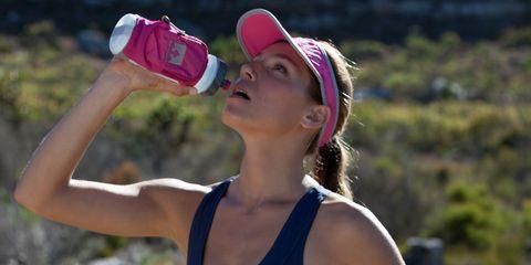 Cap, Summer, People in nature, Drink, Drinkware, Plastic bottle, Bottle, Drinking, Active tank, Baseball cap,