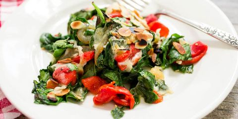 spinach with roasted red peppers and caramelized onions and fontina