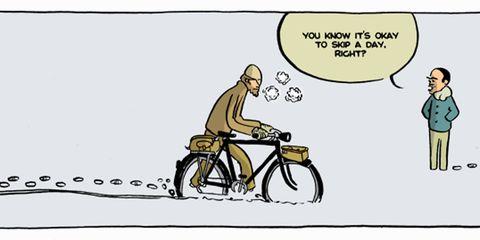 Yehuda Moon dragging his bike through the snow
