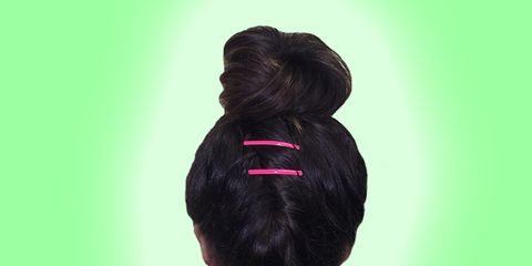 Hair, Hairstyle, Style, Colorfulness, Magenta, Violet, Hair coloring, Maroon, Back, Bun,