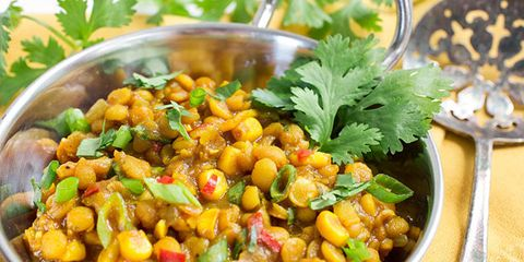 curried lentils with corn