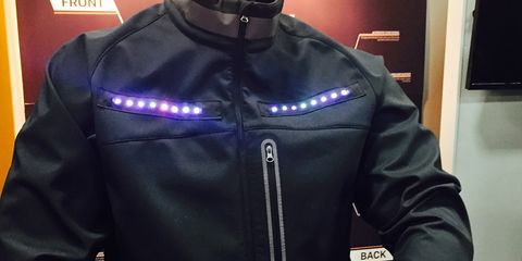 A motorcycle-style jacket from Lumenus' debut wearable line.