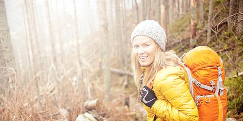 Winter, Happy, People in nature, Bag, Jacket, Youth, Luggage and bags, Beanie, Forest, Adventure,
