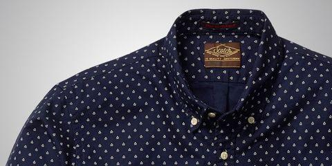 Blue, Product, Brown, Collar, Sleeve, Pattern, Dress shirt, Textile, Electric blue, Cobalt blue,