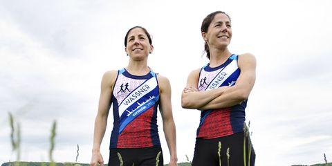 Rebeccah (left) and Laurel race to raise money for the fight against cancer; Laurel is a survivor.