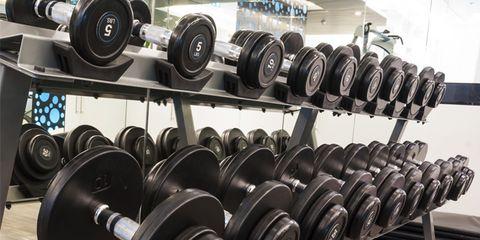dumbbells in weightroom