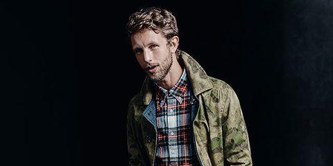 Sleeve, Dress shirt, Denim, Shirt, Textile, Collar, Plaid, Jeans, Tartan, Style,