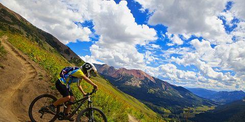 Mountain biker riding trails around Crested Butte
