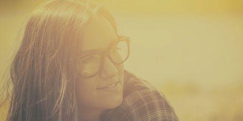 Eyewear, Glasses, Nose, Vision care, Lip, Hairstyle, Eyebrow, Mammal, Jaw, Plaid,
