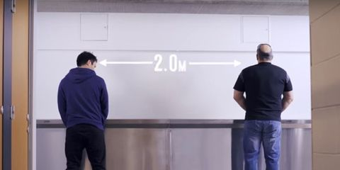 Passing distance: two men at a urinal standing 2.1 meters apart
