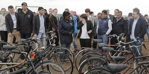 Syrian Refugees with bicycles