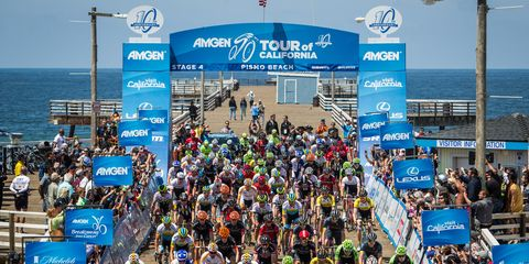 Riders depart Pismo Beach during Stage 4 of the 2015 Tour of California