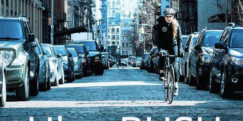 An Uber Rush bike messenger