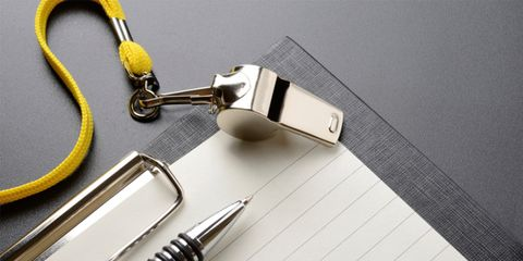 whistle and clipboard