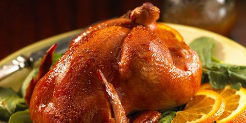 Food, Hendl, Turkey meat, Ingredient, Citrus, Chicken meat, Roast goose, Cooking, Recipe, Tableware,