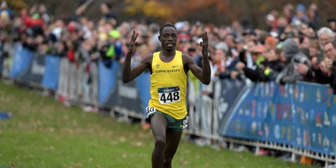 Edward Cheserek wins his third consecutive cross-country title.