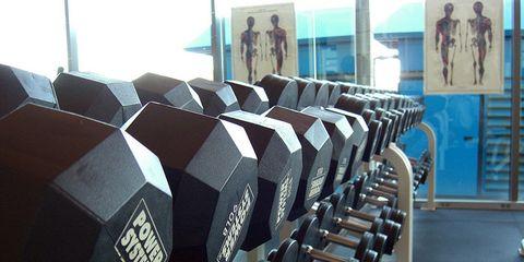 Dumbbell, Parallel, Door, Weights, Exercise equipment, Symmetry, Gym,
