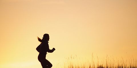 Happy, People in nature, Running, Jogging, Exercise, Rejoicing, Shadow, Playing sports, Backlighting, Silhouette,