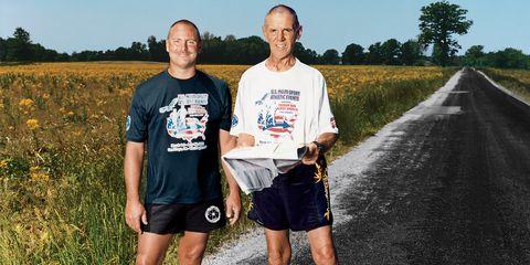 Footwear, Asphalt, Human leg, T-shirt, Road surface, Summer, Plain, Shorts, People in nature, Field,