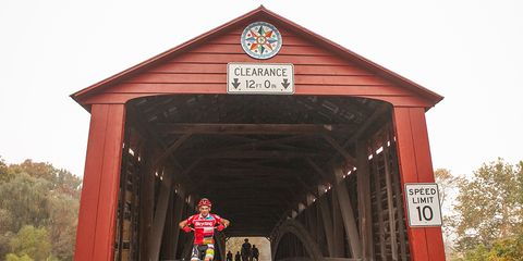 Bicycling Producer Greg Kaplan crushes the covered bridge segment in his Bicycling Stripes Jersey.