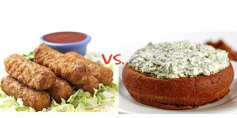 mozzarella sticks vs. spinach artichoke dip