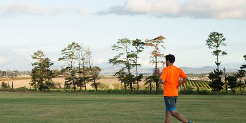 Human, Grass, Plain, Tree, People in nature, Shorts, Grassland, Active shorts, Playing sports, Morning,