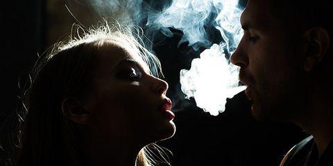 Nose, Lip, Cheek, Chin, Jaw, Interaction, Darkness, Temple, Neck, Black hair,