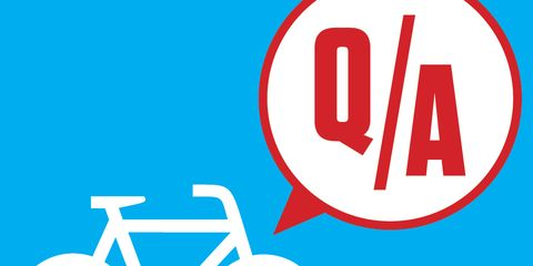 Graphic of bicycle and speech bubble with question mark