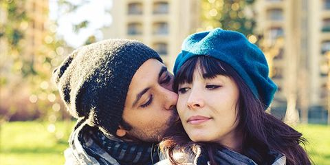 Lip, Eye, Winter, People in nature, Interaction, Love, Street fashion, Kiss, Romance, Selfie,
