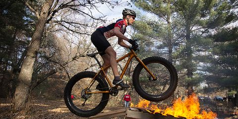 Ghettocross racers trace a sparsely-marked course near Eau Claire, Wisconsin, where fat biking is just what people do in the winter.