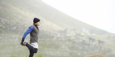 Atmospheric phenomenon, Highland, Hill, Jogging, Slope, Running, Athletic shoe, Knee, Sneakers, Morning,