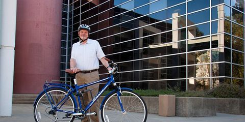 Professor Lewis Fulton and bike