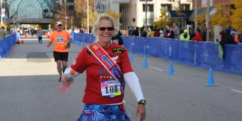 Paula Steinbach finishes the Indianapolis Monumental Marathon.
