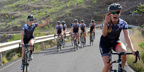 Tayler Wiles takes a ride selfie during Velocio-SRAM team camp