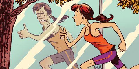 Elbow, Muscle, Cartoon, Illustration, Fiction, Waist, Abdomen, Thumb, Drawing, Fictional character,